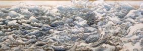"Waves, 1986, watercolor on canvas, 49"" x 131.5"""